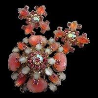 Stunning Pink White Givre Art Glass Brooch Earrings Demi Set