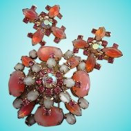 Stunning Pink White Givre Art Glass Vintage Brooch Earrings Demi Set