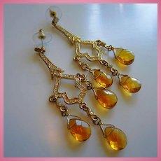 Stunning Chandelier Citrine Glass Briolette Pave Crystal Dangling Vintage Earrings Pierced