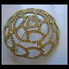Sparkling Clear Crystal Rhinestones Prong Set Domed Vintage Brooch Pin
