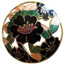 Beautiful Cloisonne Open work Round Floral Enamel  Vintage Brooch Pin