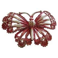 Lovely 1960s Pink White Enamel Butterfly Figural Vintage Brooch Pin