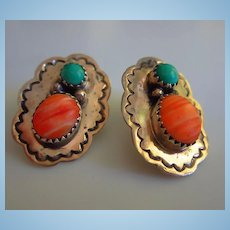 Southwest Turquoise Spiny Oyster Sterling Silver Vintage Hand Made Post Earrings