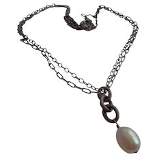 Silpada Signed retired Genuine Pearl Sterling Silver Necklace