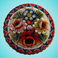 Lovely Signed Floral Raised Mosaic Italy Vintage Round Brooch Pin Italy