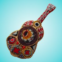 Mosaic Mandolin Guitar Figural Italy Grand Tour Vintage Brooch Pin