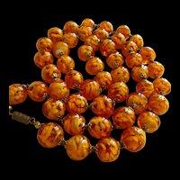 Amazing Venetian Hand Blown Glass Golden 1930s Vintage Necklace
