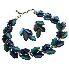 Lisner Signed Teal Navy Thermoset Leaf Vintage Necklace Earrings Set