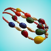 Whimsical Wooden Bright Color Fruit Double Strand Vintage Necklace