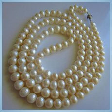 Incredible 48 inch Strand Genuine Pearls Vintage Necklace