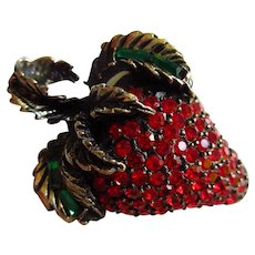 Sparkling Signed Pell Strawberry Bright Red Swarovski Crystals Green Baguettes Vintage Brooch Pin Mint