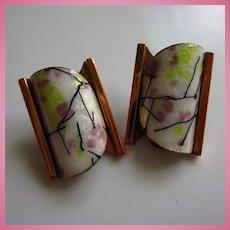 "Signed Matisse Renoir ""Elegance"" Modernist Enamel Copper Vintage Earrings"