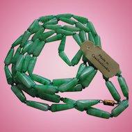 Art Deco Mottled Light Green Peking Glass Original Tag Flapper Length Necklace