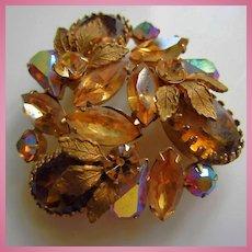 Regency signed Gorgeous Large Topaz Ovals AB Sparkling Crystals Vintage Brooch Pin