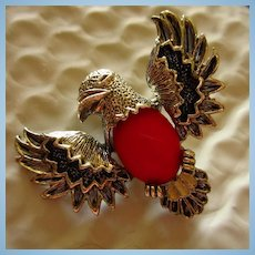 Signed Eagle Figural Red Jelly Belly Vintage Brooch Pin