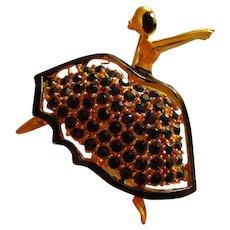 Signed Pell Graceful Ballerina Figural Black Crystal Rhinestones Vintage Brooch