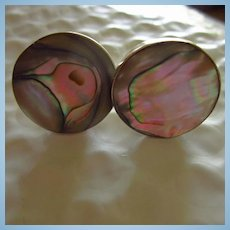 Signed Abalone Sterling Silver Vintage Cufflinks