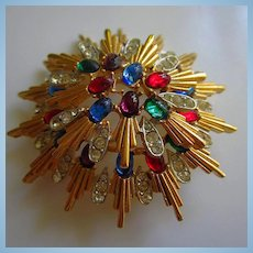 Gorgeous Jeweled Cabochons Quality Sunburst Double Tier Vintage Brooch Pin Numbered