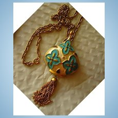 Signed Park Lane Enamel Moorish Style Vintage Brooch Pendant Necklace