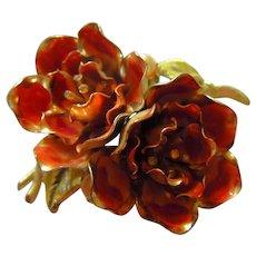 Coro Signed Dark Coral Enamel Double Flowers fx Pearls Rhinestone pistons Vintage Brooch Pin