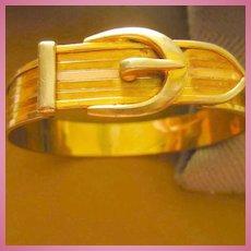 Art Deco Buckle Bracelet Rose Yellow Gold filled Signed JJ White Vintage Bracelet