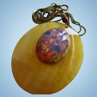 Vibrant  fx Mexican Opal on Mother of Pearl Huge Oval Pendant Sterling Silver Chain Necklace