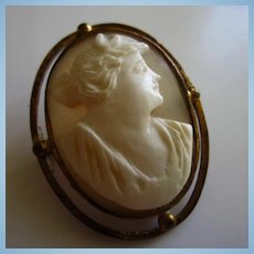 Art Deco Carved Shell Cameo Gold filled Vintage Brooch Pin