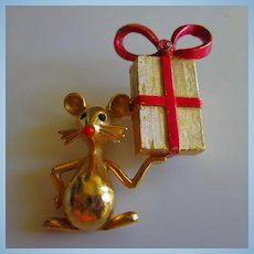 Mylu Signed Whimsical Mouse Red Bow Box Vintage Brooch Pin