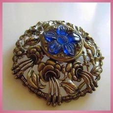 Gorgeous Huge Art Nouveau Style Beautiful Blue Art Glass Carved Center Vintage Brooch Pendant