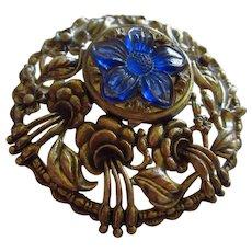 Gorgeous Huge Art Nouveau Style Beautiful Blue Lucite Perfume Vintage Brooch Pendant