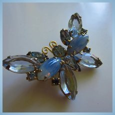 Beautiful Blues Givre Navettes Butterfly Figural Vintage Brooch Pin