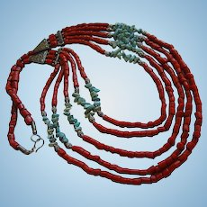 Amazing Genuine undyed Coral Turquoise Long Five Strand Vintage Statement Necklace