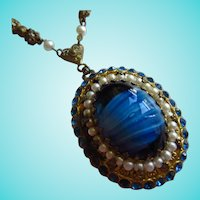 Gorgeous Blue Czech Art Glass Rhinestone fx Pearl Vintage Necklace