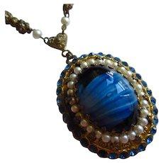 Gorgeous Blue Czech Art Glass Rhinestone fx Pearl Vintage Necklace