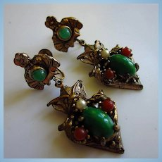Karu Fifth Avenue Signed Victorian Style Hanging Earrings