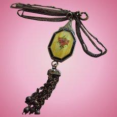 Art Nouveau Guilloche Enamel Signed HR Sterling Tassel Antique Pendant Necklace