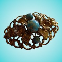 Czech Mottled Turquoise Art Glass Gold Plated Vintage Brooch Pin