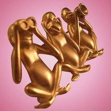 Signed  Whimsical 3 Monkeys See Hear and Speak No Evil Matte Gold Vintage Brooch Pin