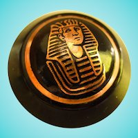 Early Egyptian Revival Brass and Black Vintage Brooch Pin
