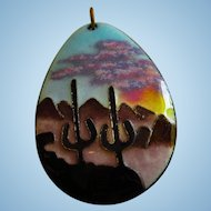 Vibrant Artist Signed Arizona  Desert Scene Enamel Vintage Pendant