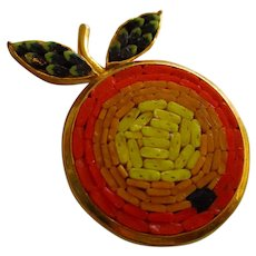 Whimsical Mosaic Fruit Figural Signed Italy Vintage Brooch Pin