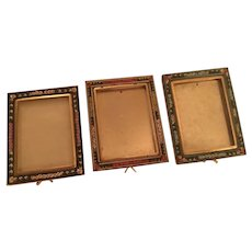 Three Mosaic Easel Back Signed Italy Vintage Picture Frames