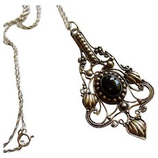 Gorgeous Black Onyx Sterling Silver Pendant Vintage Necklace