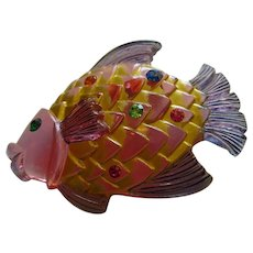 Whimsical Colorful Lucite Rhinestone Fish Figural Vintage Brooch Pin