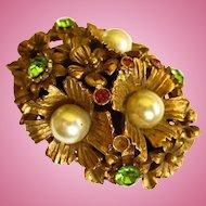 Florenza Signed Flowers Jeweled Rare Trinket Box