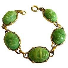 Green Scarab Egyptian Revival Art Deco Bracelet