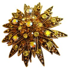 Quality AB Sparkling tiered Crystal Rhinestone Gold plated Vintage Brooch Pin