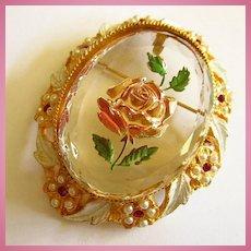 Reverse Carved Painted Flower Faceted Beveled Glass Ornate Frame Vintage Brooch Pendant