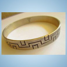 Geometric Quality Sterling Silver Signed Slip On Bracelet