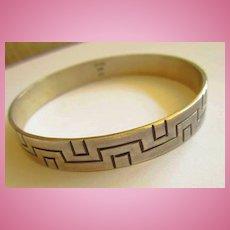 Geometric Quality Sterling Silver Signed Slip On Bracelet